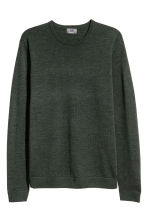 Merino wool jumper - Dark green marl - Men | H&M CN 2