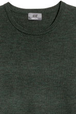 Merino wool jumper - Dark green marl - Men | H&M CN 3