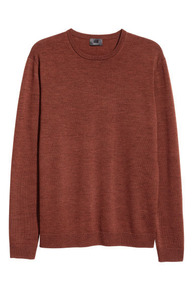 Merino wool jumper - Brown marl -  | H&M