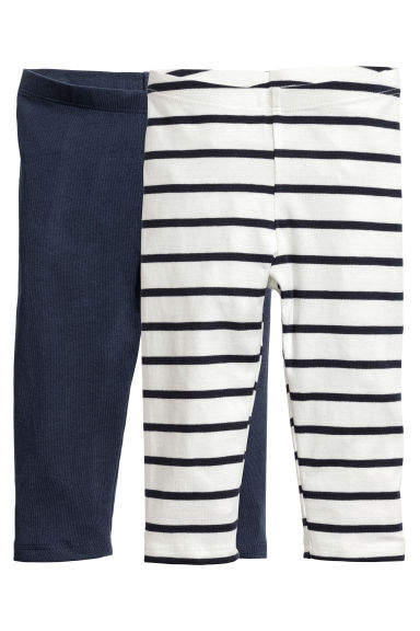 2-pack 3/4-length leggings - White/Striped -  | H&M 1