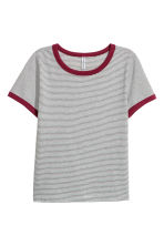 短版T恤 - White/Grey striped - Ladies | H&M 1