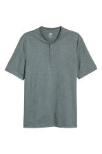 Short-sleeved Henley shirt - Grey green - Men | H&M 2