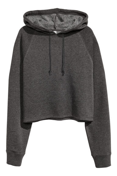 Cropped hooded top - Dark grey marl - Ladies | H&M 1