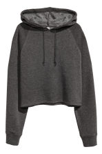 Cropped hooded top - Dark grey marl - Ladies | H&M CN 1