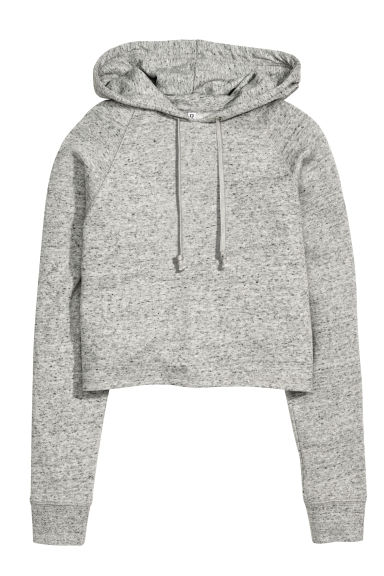 Cropped hooded top - Grey marl - Ladies | H&M 1