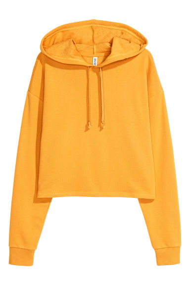 Cropped hooded top - Mustard yellow - Ladies | H&M GB
