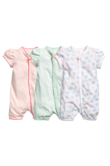 3-pack all-in-one pyjamas - Powder pink - Kids | H&M 1