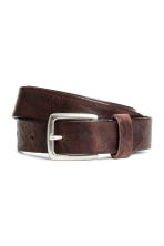 Narrow leather belt - Dark cognac brown - Men | H&M CN 1
