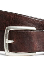 Narrow leather belt - Dark cognac brown - Men | H&M CN 2