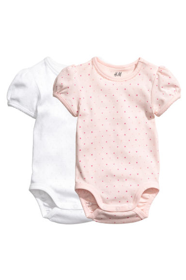 2-pack puff-sleeved bodysuits - Light pink/Patterned - Kids | H&M
