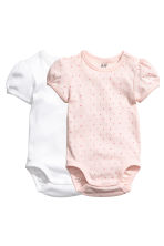 2-pack puff-sleeved bodysuits - Light pink/Patterned - Kids | H&M CN 1