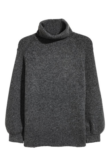 H&M+ Knitted polo-neck jumper - Dark grey marl - Ladies | H&M