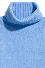 H&M+ Knitted polo-neck jumper - Blue marl - Ladies | H&M CN 3