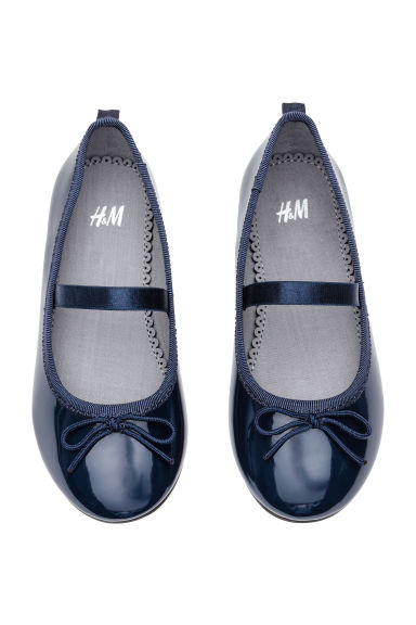 Ballet pumps with strap - Dark blue - Kids | H&M CN 1
