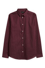 Cotton shirt Slim fit - Burgundy/White spotted - Men | H&M 2