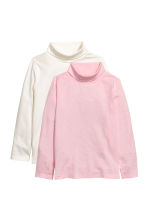 2-pack polo-neck tops - Light pink marl -  | H&M CN 2