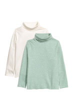 2-pack polo-neck tops - Light green/Hearts - Kids | H&M 2