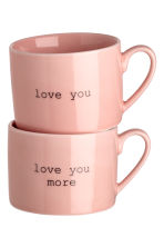Lot de 2 mugs en porcelaine - Rose clair - HOME | H&M BE 1