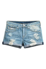 Denim shorts - Denim blue trashed - Ladies | H&M 3
