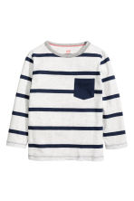 Long-sleeved T-shirt - Light grey/Striped - Kids | H&M CN 2