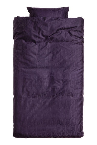 Jacquard-weave satin duvet set - Purple/patterned - Home All | H&M CA 1