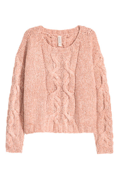 Cable-knit jumper - Vintage pink -  | H&M CN