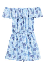 Off-the-shoulder playsuit - Light blue/Floral - Ladies | H&M 2