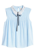 Lace-collar blouse - Light blue - Ladies | H&M 2