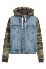 Denim jacket with a hood - Denim blue/Khaki green - Men | H&M CN 2