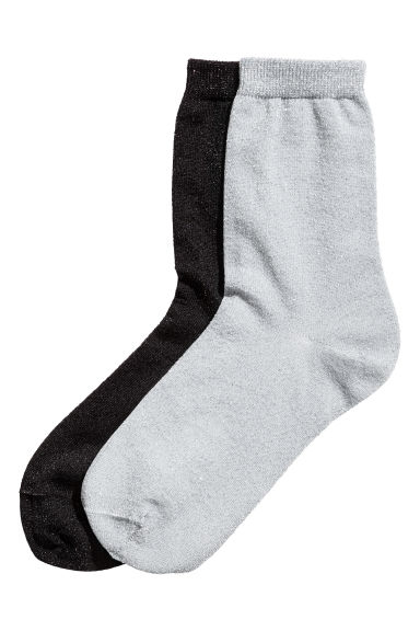 2-pack glittery socks - Black - Ladies | H&M CN 1