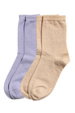2-pack glittery socks - Purple - Ladies | H&M 1