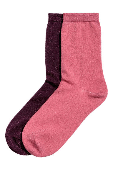 2-pack glittery socks - Raspberry red - Ladies | H&M CN