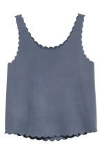Vest top with scalloped edges - Pigeon blue - Ladies | H&M 2