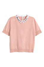 Fine-knit top with a collar - Old rose - Ladies | H&M CN 2