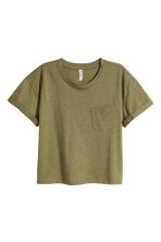 Cropped T-shirt - Khaki green marl - Ladies | H&M CN 2