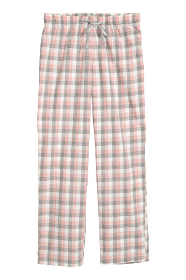 Flannel pyjama bottoms - Pink/Grey checked - Ladies | H&M