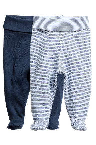 2-pack trousers with feet - Dark blue -  | H&M CA 1