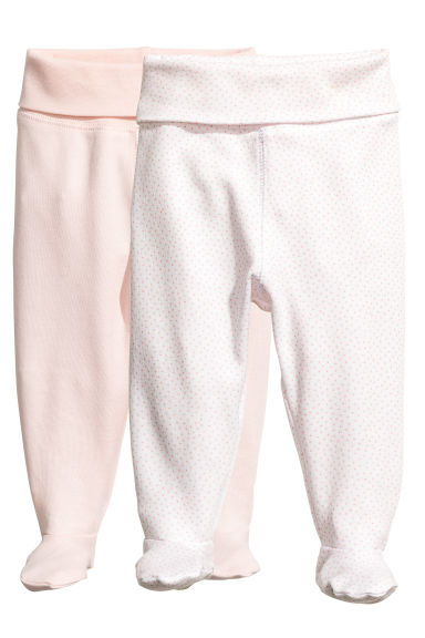2-pack trousers with feet - Powder pink -  | H&M CN 1