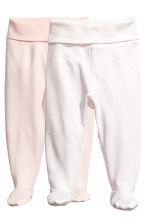 2-pack trousers with feet - Powder pink -  | H&M CA 1