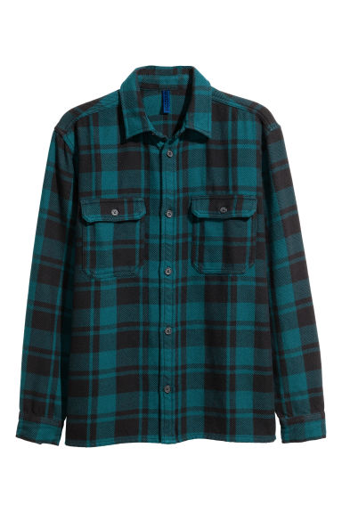 Checked twill shirt - Dark turquoise/Checked -  | H&M 1