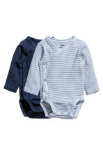 2-pack long-sleeved bodysuits - Dark blue - Kids | H&M 1