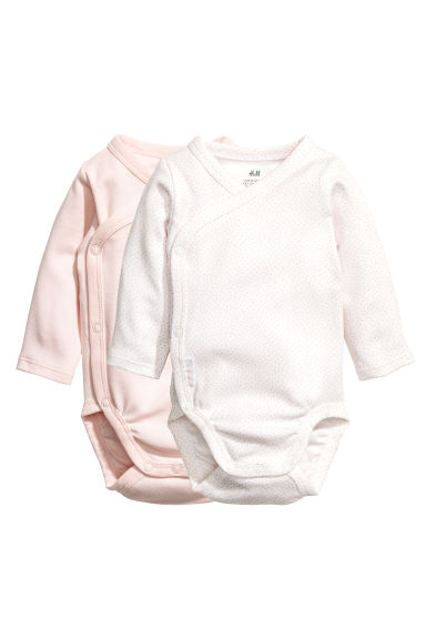 2-pack long-sleeved bodysuits - Powder pink - Kids | H&M