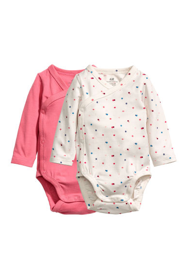 Lot de 2 bodies croisés - Rose/pois - ENFANT | H&M BE 1
