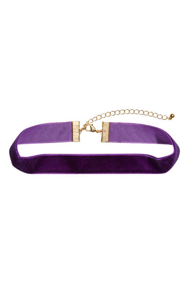 Velvet choker - Dark purple - Ladies | H&M