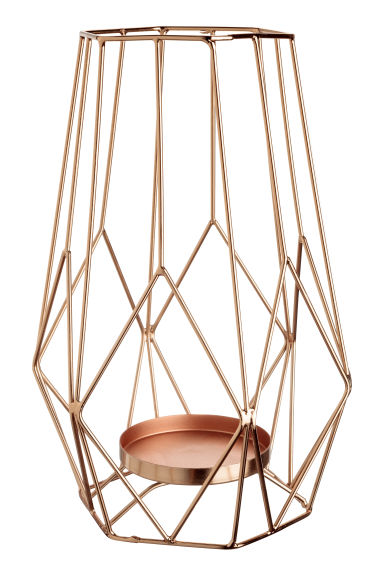 Large metal candlestick - Copper-coloured - Home All | H&M GB 1