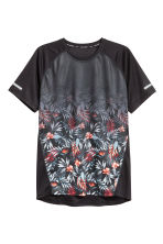 Short-sleeved running top - Black/Floral - Men | H&M CN 2