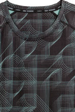 Short-sleeved running top - Black/Patterned - Men | H&M CN 3