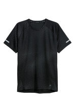 Short-sleeved running top - Black/Grey patterned - Men | H&M GB 2