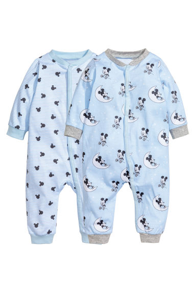 2-pack all-in-one pyjamas - Light blue/Mickey Mouse - Kids | H&M 1