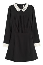 Dress with a lace collar - Black - Ladies | H&M GB 2